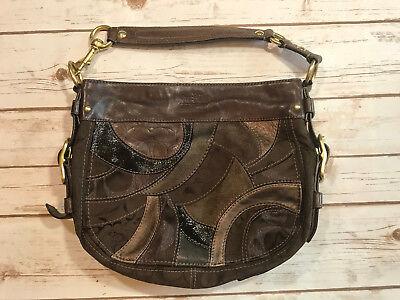 Zoe Handbag Purse - Coach Zoe Mosaic Patchwork Handbag Purse Chocolate Brown Black Hobo 13515 Bag