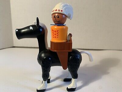 Vintage Fisher Price Little People Western Black Horse Saddle Indian Chief