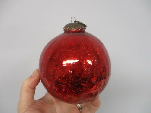 OLD WORLD KUGEL STYLE RED CRACKLE GLASS CHRISTMAS ORNAMENT MADE IN INDIA