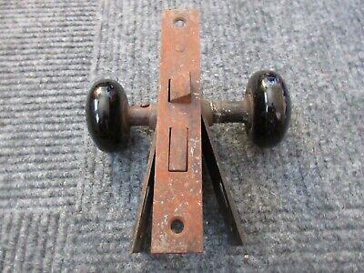 Antique Vintage Mortise Lock Set Black Porcelain Door Knobs with Face plates