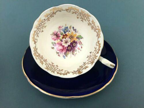 Aynsley England Bone China Cobalt Blue Floral Tea Cup & Saucer Gold Trim #C534