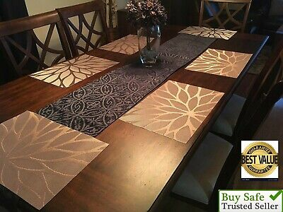 Set of 6 Kitchen Dining Table Placemats Washable Heat Resistant Fall Brown Woven