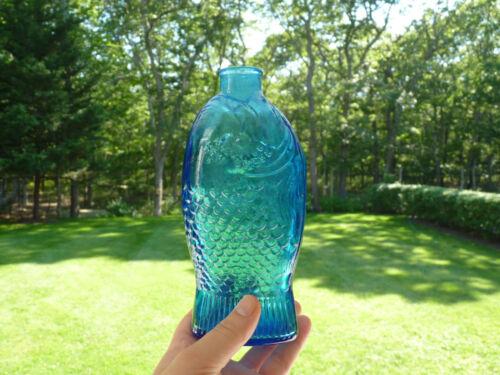 "Cornflower Blue Vintage Wheaton Bitters Fish Bottle 7.5"""