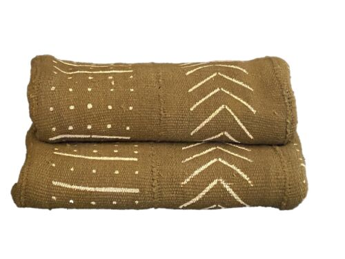 """African Bogolan Textile Mud Cloth  White  & Mustard  43"""" by 66"""""""