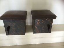 FIRESIDE WOOD BOXES X 2  METAL AND TIMBER WITH LEATHER TOPS Unley Park Unley Area Preview
