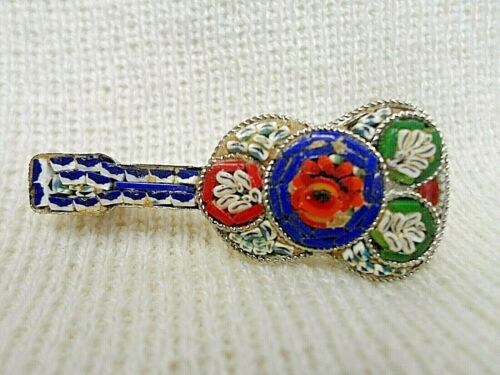 VINTAGE MICRO MOSAIC ART GUITAR BROOCH/PIN SILVER TONE STAMPED ITALY