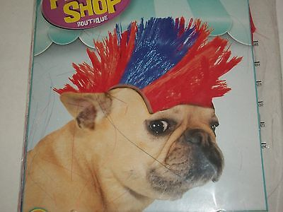 Rubies Pet Shop Mohawk Wig Hair Red Blue Halloween Costume Medium Large Med Lg