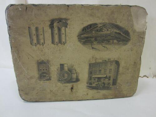 Antique Printers Stone Printing Block- Jackson Newton Haigh Co. Maine