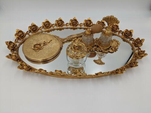Vintage Ormolu Rose 6 Pc Vanity set, gold gilt mirrored vanity set