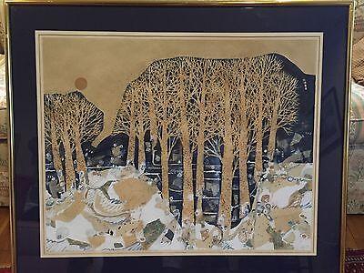 - American Folk Art Lucinda Carlstrom Mixed Media Collage Winter Snow Moon Framed