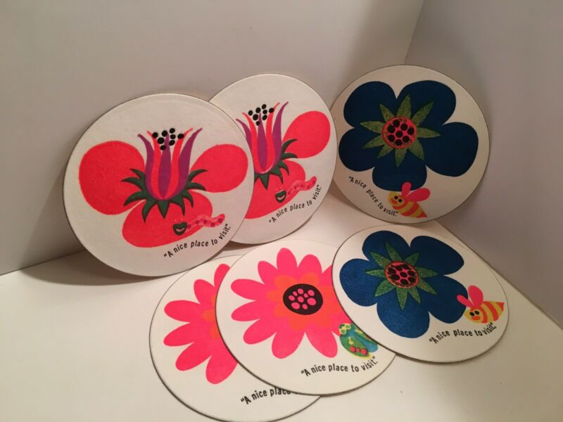 ca. 1970 CITCO GAS STATION DRINK COASTER MOD FLOWER A NICE PLACE TO VISIT (12)