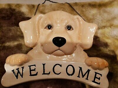 Big Sky Canine Welcome Yellow Labrador Retriever Wall Hanging Big Labrador Retrievers