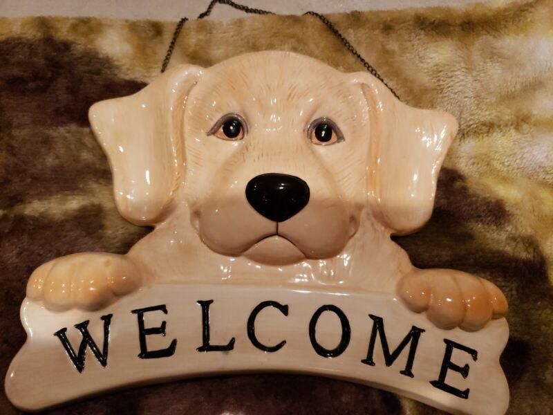 Big Sky Canine Welcome Yellow Labrador Retriever Wall Hanging
