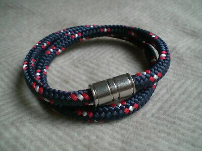 Armband, unisex, 41,5 cm, blau mit rot und weiß, kombinierbar, Magnetverschluss ()