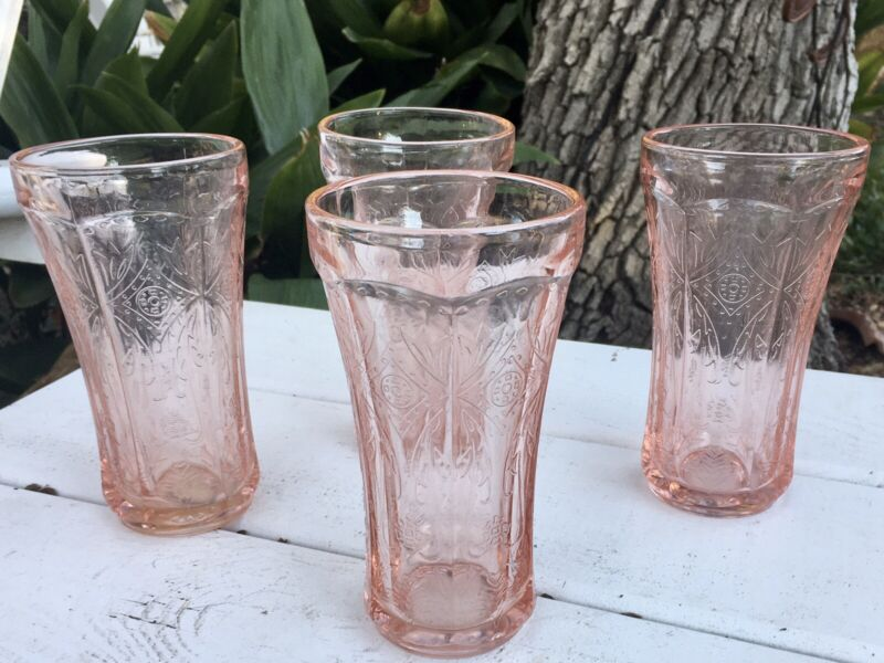 """4 Vintage Pink Madrid Federal Recollection Water Tea Tumbler Glass 6"""""""