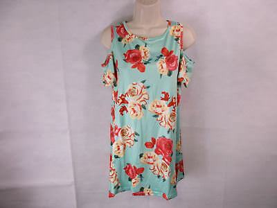For G   Pl Womens M Mint Floral Print Cut Out Shoulder Short Sleeve Tops Bl New