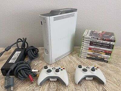 Microsoft Xbox 360 20GB White Console w/2 controllers and 11 Games Bundle
