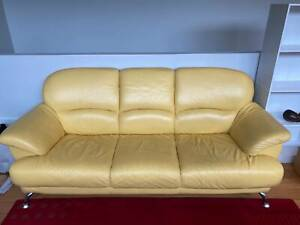 3-seater Italian leather couch - yellow