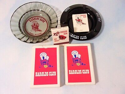 2 Vintage Casino Ashtrays Matchbooks Playing Cards Harold's Club Advertising
