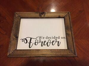Wood canvas sign