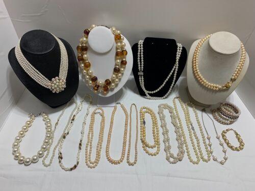 Vtg Lot of Faux Pearl Necklaces Glass, Acrylic, Plastic 15 Necklaces 2 Bracelets