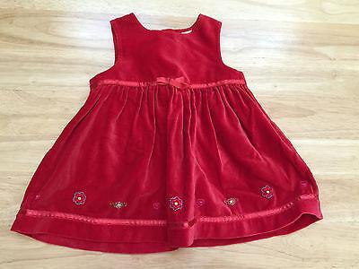 Parisian Bebe Red Dress 6-9 Month Soft Velour Excellent Condition