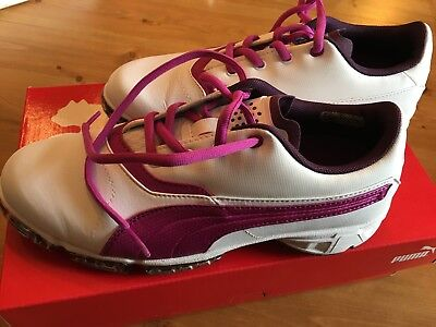 Plum Womens Golf Shoe (PUMA Womens BioPro Golf Shoe Size 6 White-Italian Plum-Purple)