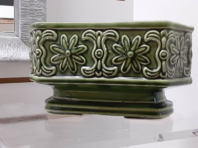 "Vintage Green Oblong Hexagon Ceramic Planter with Pedestal Base 9"" Wide"