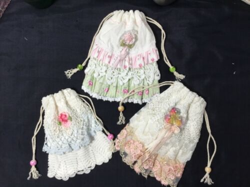 3 HM Flour sack HM Gift pouches Pretty and perfect for gifting cards, jewelry