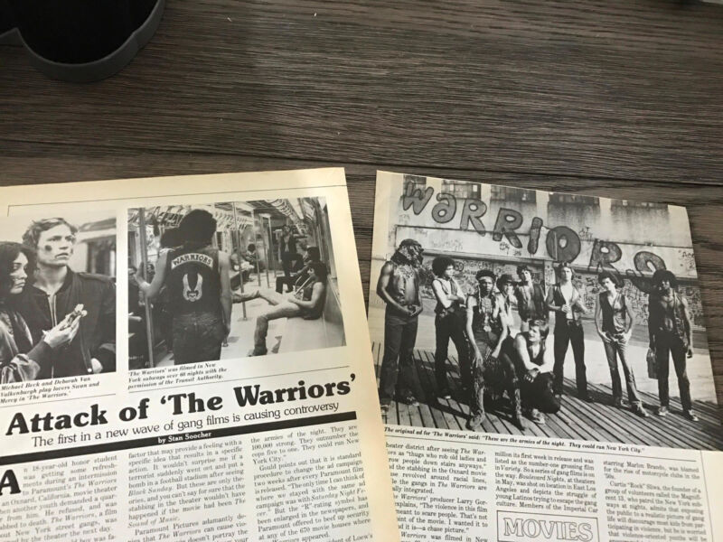 "1979 VINTAGE 2PG MAGAZINE ARTICLE THE MOVIE WARRIORS CONTROVERSIAL ""GANG FILM"""