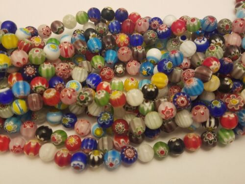 Handmade Millefiori Glass Flower Mixed Color Beads, Round, 10mm hole: 1mm Qty 20