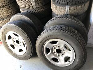 Set of bf Goodrich longtrail tires and chevy rims - p215/70R16