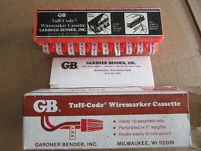 Gardner Bender 39-09 Tuff Code Wire Markers Cassette 0 Thur 9 New Free Ship