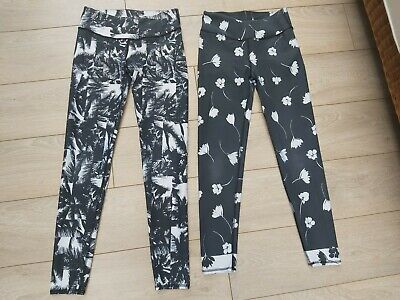 fabletics salar yoga gym leggings bundle fitness pants black white floral XS uk8