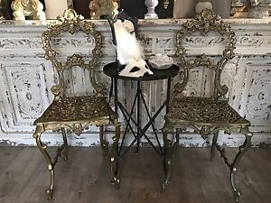 Vintage Gilt Metal Lace Work Chair French Boudoir Richmond Hawkesbury Area Preview