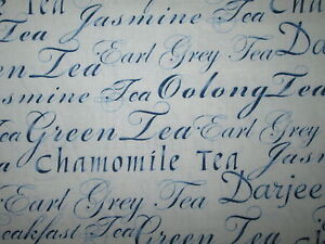 TEA WORDS WRITING VARIETY DRINKS BLUE COTTON FABRIC BTHY
