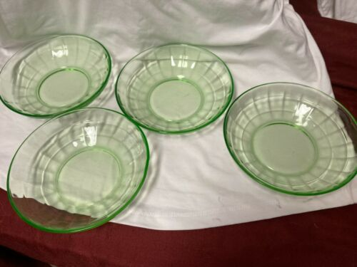 Green Block Optic Cereal Bowls Set of 4 by Hocking Glass