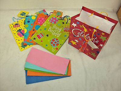 Birthday Party Gift Bag Set, 5 Re-usable Bags With Colored T