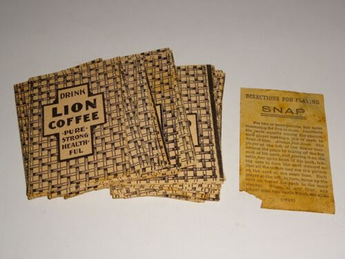 vintage Drink Lion Coffee Advertising Snap Card Game with 47 cards & Instruction
