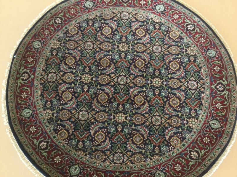 4 X 4 Navy Blue Geometric Super Herati Persian Oriental Rug Round Hand Knotted