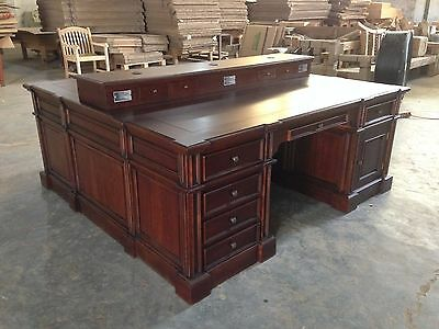 Custom Large Modern Executive Partner Desk For 4 Monitors - Mahogany 1 of 1