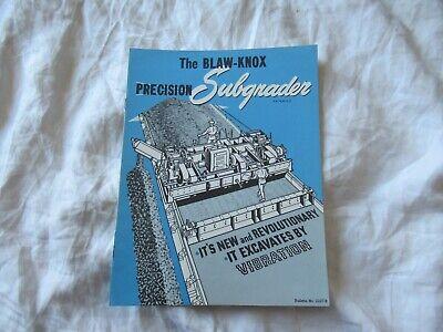 Blaw-knox Subgrader Equipment Construction Brochure