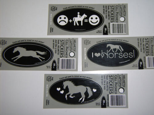 Horse Themed Mini Stickers. Set of 4.  NEW!