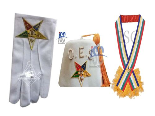 OES Order Of Eastern Star star Fez, Gloves, and Sash