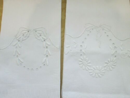 2 Vintage Hand Embroidered Guest Hand Towels  Damask Huck Linen Padded Stitches