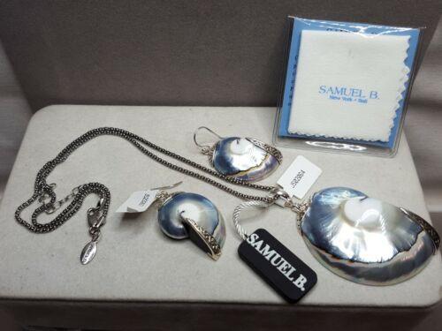 Vintage SAMUEL B. 925 Sterling Silver Abalone Shell Pendant Necklace & Earrings