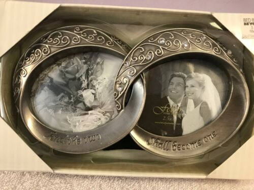Picture Frame Pewter Double Wedding Ring AND TWO SHALL BECOME ONE PO2759