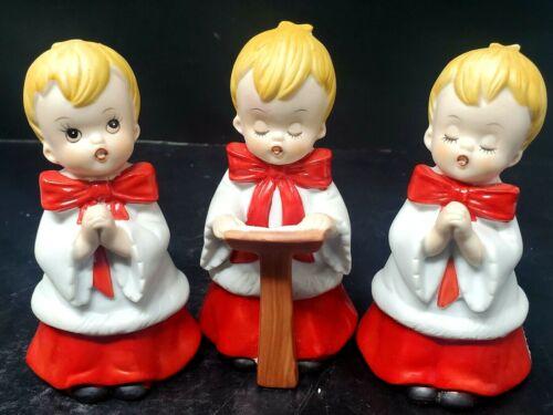 3 Vintage HOMCO #5550 Set Christmas CHOIR BOYS Singing Carolers