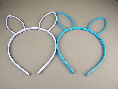 Blue Aqua set 2 bunny rabbit ears headband hair band accessory kawaii cosplay