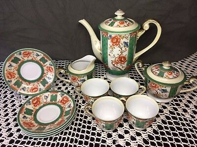 11 Pc GOLD CHINA SET Porcelain Hand Painted Occupied Japan Gold & Green Floral